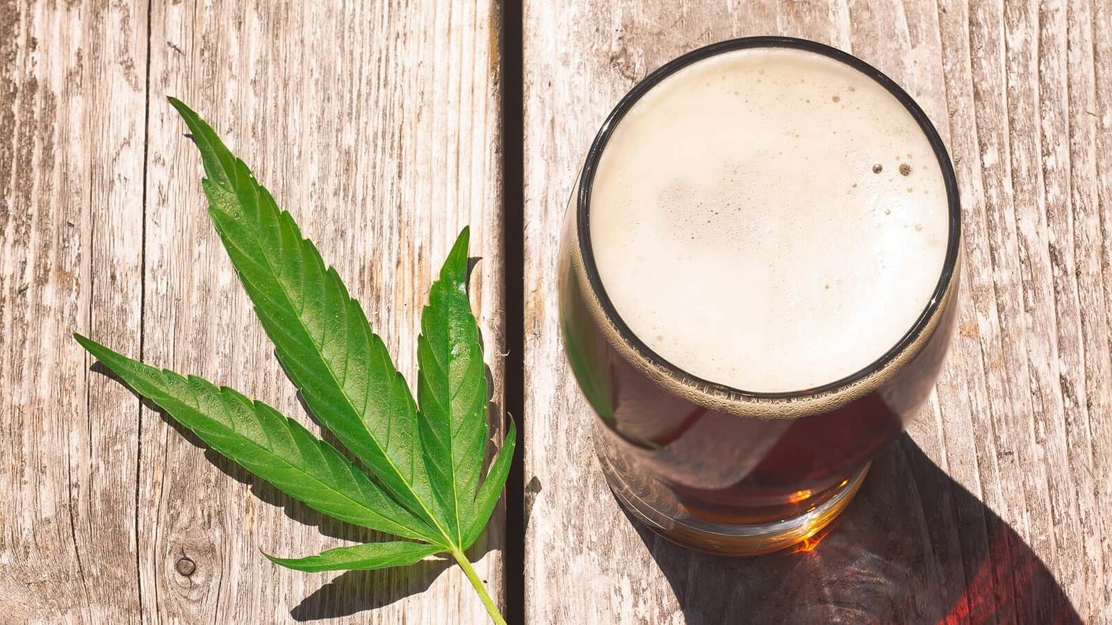 Hemp Leaf Besides Hemp Beer Glass